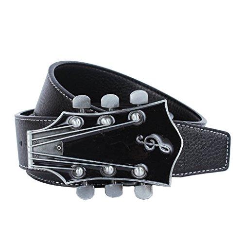 Blesiya Retro Black Brown Leather Strap Belt Buckle Vintage Alloy Guitar Music Buckle For Women Men - Black, -
