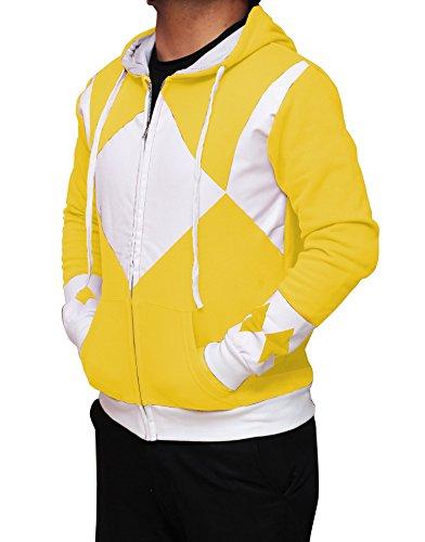 [Miracle(Tm) Power Rangers Hoodie - Power Rangers Hooded Costume Zip Up Hoodie - (Medium, Yellow)] (Yellow Power Ranger Costumes Child)
