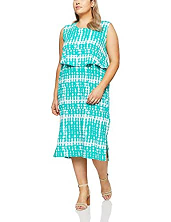My Size Women's Plus Size Palm Cove Abstract Maxi, Green, Small