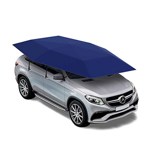 Car Umbrella Sun Shade, Semi-Automatic Car Tent, Movable Carport, Folded Portable Car Canopy Cover, Anti-UV, Water-Proof, Proof Wind, Snow, Storm Hail,157.5 Ft,Blue