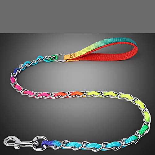 Susanda Spot Excellent Pet Leash Golden Panda Rainbow Chain Wear Colorful Nylon Leash Moderate Thickness and Good Gloss