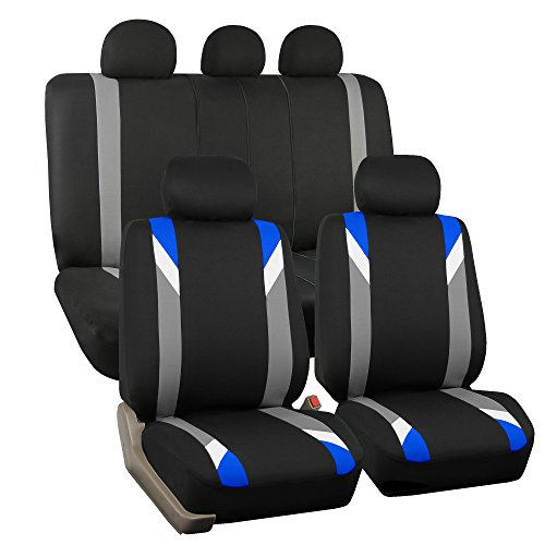Acura Blue Cover - FH GROUP FH-FB033115 Premium Modernistic Seat Covers Airbag & Split Ready, Blue / Black Color- Fit Most Car, Truck, Suv, or Van