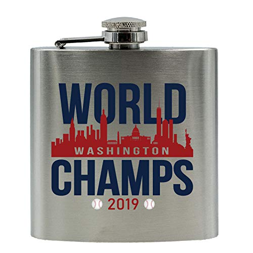 Go Personal Washington World Champs 2019 Baseball Inspired Stainless Steel Alcohol Hip Flask, 6 Oz. Stainless Steel Baseball 6 Ounce Flask