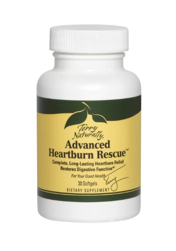 Terry Naturally Advanced Heartburn Rescue - 30 Softgels - Long-Lasting Heartburn Relief, Supports Digestive Function - Soy-Free, Dairy-Free, Gluten-Free - 30 Servings (Best Immediate Heartburn Relief)