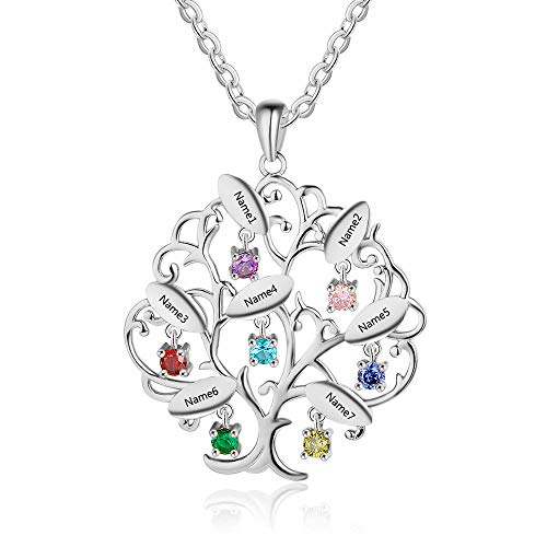 OPALSTOCK Personalized 7 Name Necklace for Women Family Tree of Life with 7 Simulated Birthstone Necklace Mothers Day Birthday Gifts for Mom Grandma (Silver)