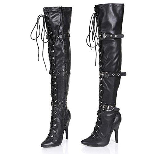 de femeninas tacón Mujeres Elasticidad botas Botas Blanco alto BLACK nocturno Zippered la de rodilla Bien de Damas 12cm escenario con 35 Botas 36 Club Botas qUqH6W8tr