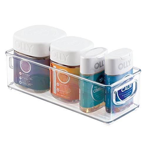 (mDesign Stackable Plastic Storage Bin Caddy with Handles - Organizer for Vitamins, Supplements, Serums, Essential Oils, Medical and First Aid Supplies - 3