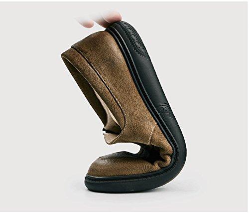 Happyshop Retro Mens Scarpe In Vera Pelle Comfort Slip-on Mocassini Casual Scarpe Primavera Scarpe Per Il Tempo Libero Kaki