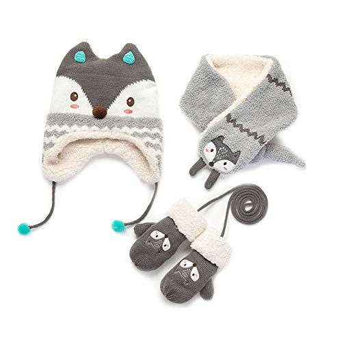 Piece Set Mitten 3 (Baby Hats Baby Mittens Baby Girls Boys Winter Warm Knit Hat+Scarf/Gloves 3 Pieces Set (Grey Fox for 4-6T))