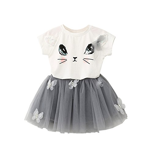 Fedi Apparel Toddler Girls Party Strip Shirt Tutu Dress Cat Top Tulle Skirts Set (1-2 Years(Tag XS), Cat (Cheap Fancy Dress Outfits)