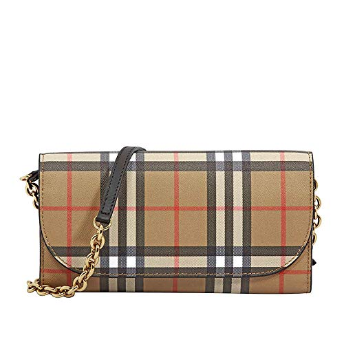 Burberry Large Vintage Check/Leather Wallet- Black