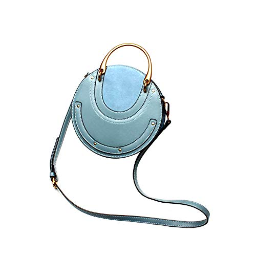 Yoome Elegant Rivet Bag Punk Purse Circular Ring Handle Handbags Cowhide Crossbody Bags For Women - Blue