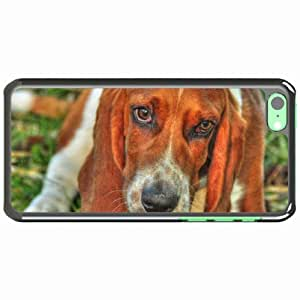 iPhone 5C Black Hardshell Case basset dog eyes face Desin Images Protector Back Cover by runtopwell