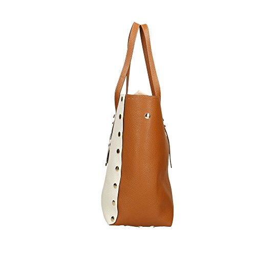 Marron POP Bags Cm in Blanc femme Sac Impression véritable Brun en à 34x31x15 cuir Italy Made Dollar main rZqrdp6w
