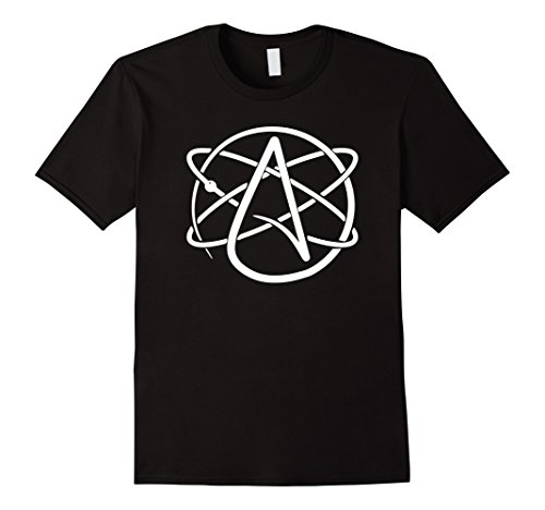 Mens Atheist Atheism Science Atom Logo T-Shirt XL Black