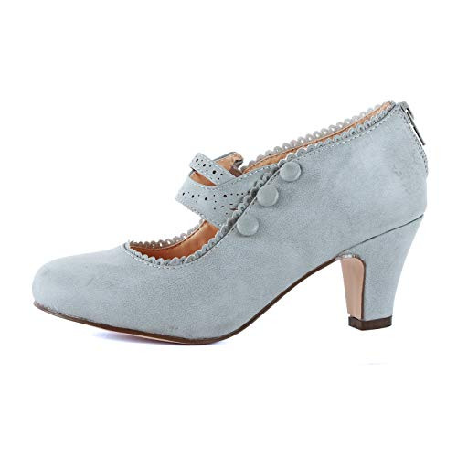 Guilty Shoes - Mina-4 Grey Pu, 7 (Retro Grey Shoes)