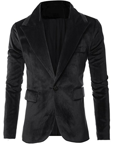 - REYUY Mens Slim Fit Notched Lapel 1 Button Velvet Suit Jacket Black