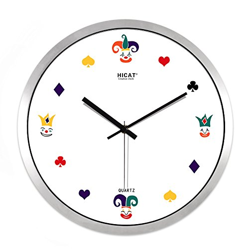 FortuneVin Wall Clock Non-Ticking Number Quartz Wall Clock Living Room Decorative Indoor Clock Bedroom Clock Kitchen Clock Water Wall Mounted Quartz Clock White-White Metal Box14 India .35Cm,12 In23 by FortuneVin (Image #1)