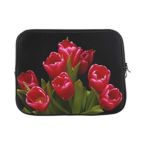 - Design Custom Tulips Red Pink Lily Plant Ornamental Flower Sleeve Soft Laptop Case Bag Pouch Skin for MacBook Air 11