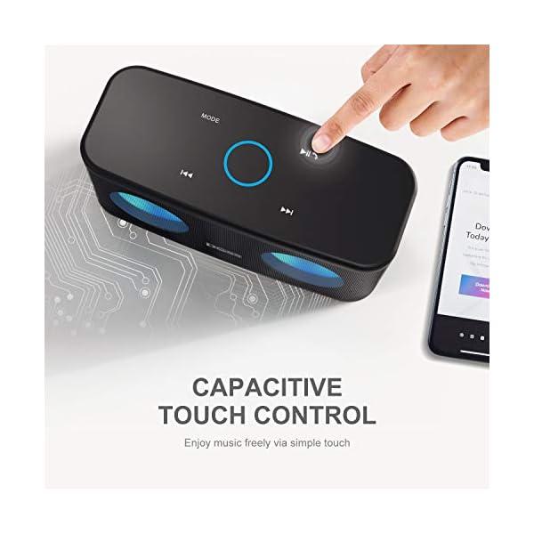DOSS Bluetooth Enceinte,Haute Parleur sans Fil,Commande Tactile,Son HD et Basses Puissantes,Mains Libres,20 Heures Playtime,Enceintes pour Phone,Tablette et TV,Noir 3