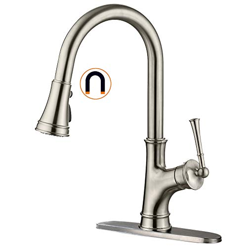 APPASO Single-Handle Magnetic Docking Kitchen Faucet with Pull Down Sprayer, Stainless Steel Brushed Nickel High Arc Pull Out Spray Head Kitchen Sink Faucet with Deck Plate, K133-BN (Plate Nickel Deck)