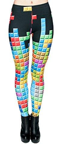 Tamskyt Womens Hot Sale Digital Printed Women's Full-Length Yoga Workout Leggings Thin Capris (Tetris)