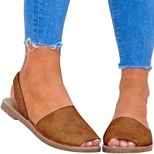 Blivener Womens Casual Sandals Summer Cute Peep Toe Slingback Flat Shoes BLACK41 (9.5)