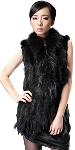 Vogueearth Mujer'Real Knit Conejo Pelaje Largo Gilet Chaleco with Mapache Negro