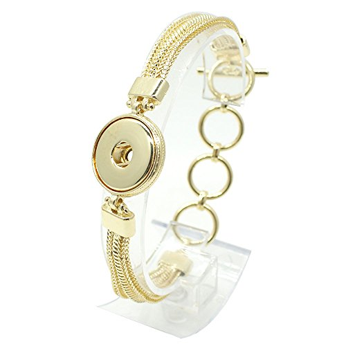 My Prime Gifts Interchangeable Snap Jewelry Gold Toggle Bracelet Holds 18-20mm ()