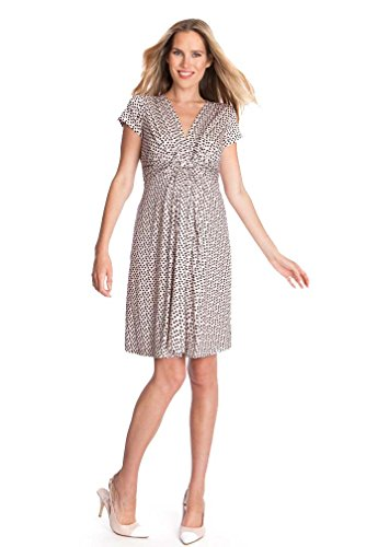 Seraphine Jolene Knot Front Maternity And Nursing Dress - Short Sleeve - Print - Pink Dot - - Kate Maternity Middleton