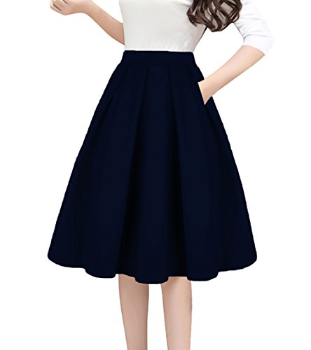 Tandisk Women's High Waist Flared Skirt Pleated Midi Skirt with Pocket Navy Blue 2XL ()