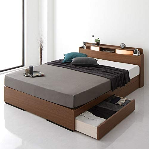 ベッド 日本製 収納付き 引き出し付き 木製 照明付き 宮付き 棚付き コンセント付き シンプル モダン ブラウン シングル ベッドフレームのみ