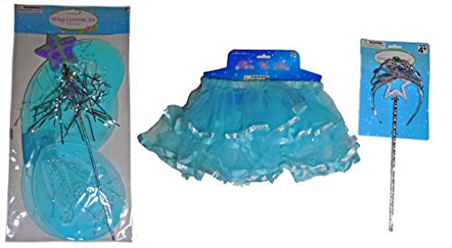 5 Piece Fairy Princess Set (Blue Satin Trim Skirt with Blue Wings Plus Blue/Green Jeweled Tiara with Star - Jeweled Princess Fairy Wings