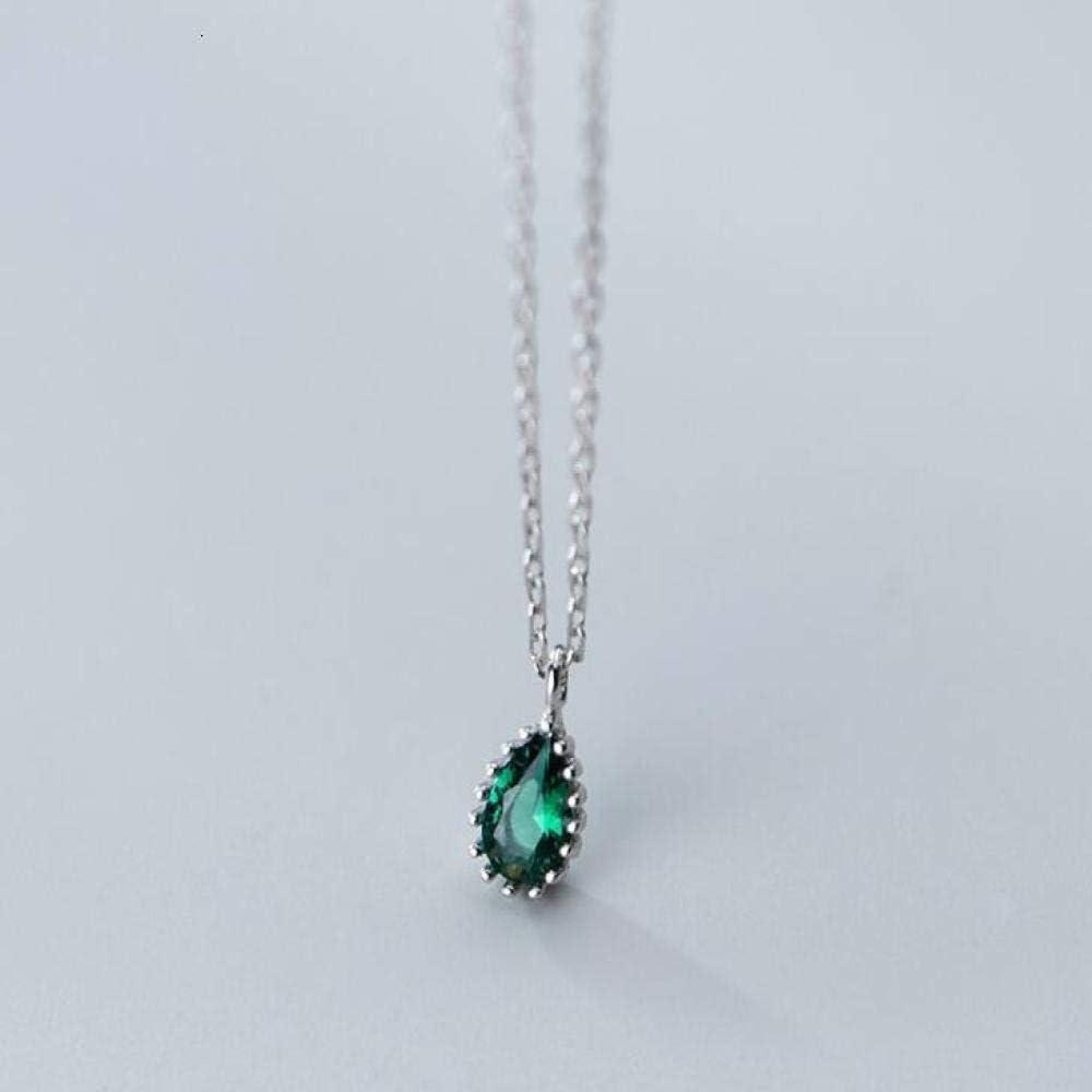 TFTHG Genuino 925 Plata esterlina Verde Esmeralda lágrimas Gota de Agua Colgante Collar Regalos auténticos
