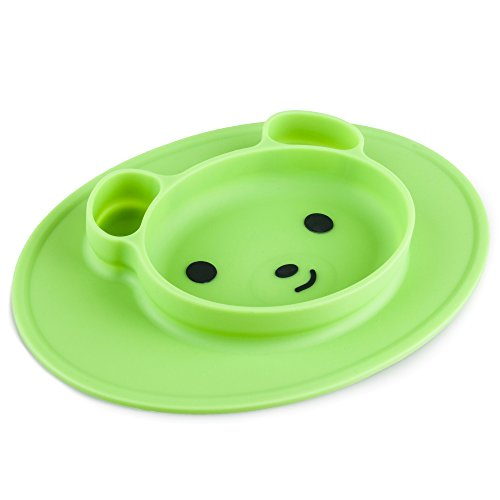 Silicone Suction Baby Feeding Placemat: Lumipets Non Slip Bear Shaped Mat Bowl Plate for Toddlers & Kids Eating at Home or a Restaurant - Toddler Food Tray Plates - Table/High Chair Placemats -Green