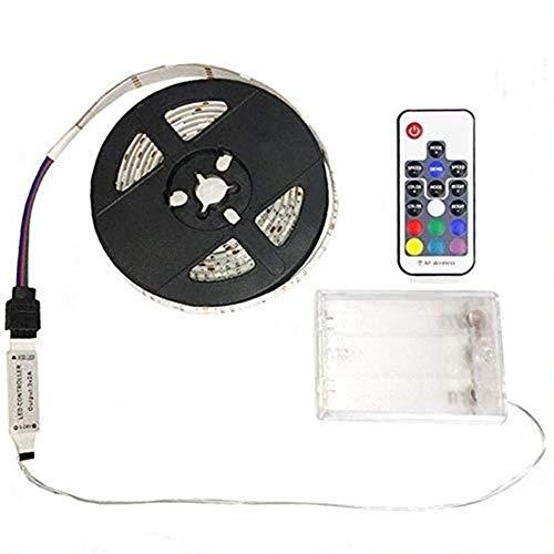 Hikenri 5050 1M/3.3ft IP65 Waterproof Flexible Color Changing RGB LED Light Strip 30 LEDs DC 5VBattery-Powered, TV Backlight Background Lighting Flexible Adhesive Back Tape for Flat Screen TV Desktop
