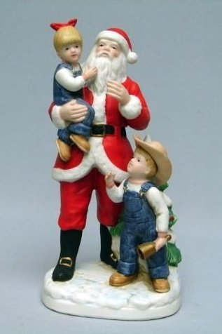 "Homco Denim Days Figurine "" I Love Santa "" 1985 #8951"