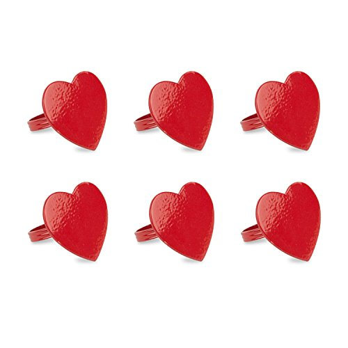 DII Napkin Rings for Dinners, Parties, Everyday, for Dinners, Parties, Everyday, Set of 6, Heart