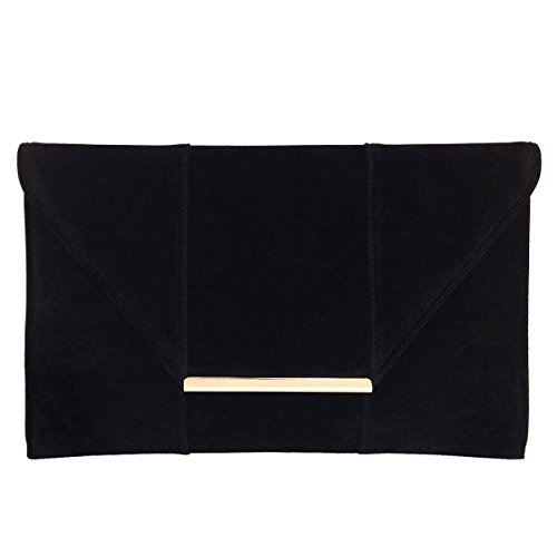 JNB Women's Faux Microsuede Envelope Clutch Black