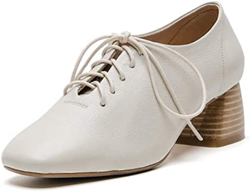 ANNIESHOE Derbies Femme a Lacets Cuir Oxford Chaussure Talon