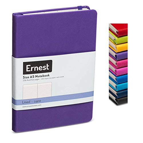 Ernest Classic Hardcover Notebook/Journal Purple-Lined, Premium Ivory Paper, Expandable Inner Pocket, Organizational Stickers (purple, lined)