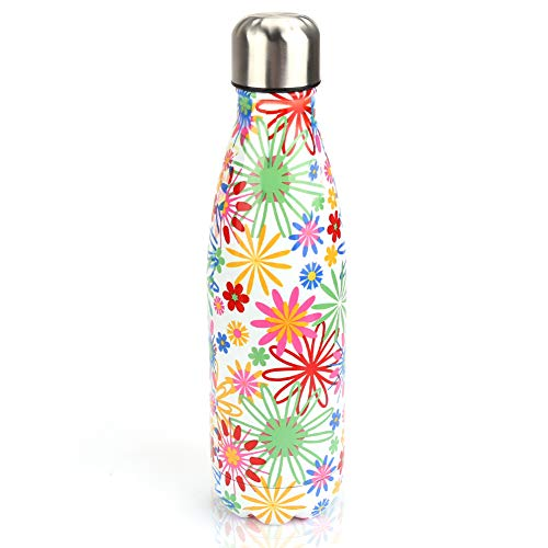 SSAWcasa Stainless Steel Water Bottle,Metal Insulated Thermos Sports Bottle,17oz Double Wall Vacuum Drinking Flask Keeps Drinks Hot or Cold,Leak Proof Reusable Travel Bottles for Camping (Sunflower)