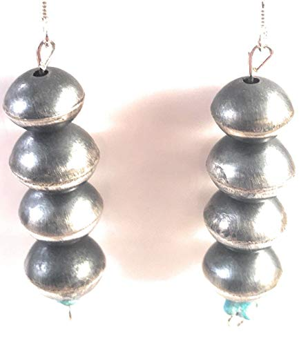 Navajo Sterling Silver Turquoise Pearl Dangle Earrings from Nizhoni Traders LLC