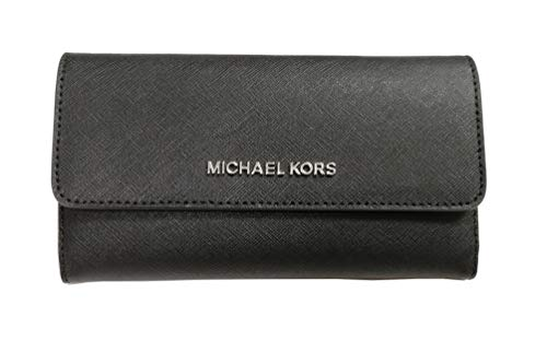 Michael Kors Jet Set Travel Trifold Leather Wallet Black, Large