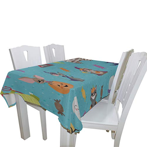 Fenda Cute Hippopotamus with Animals 100% Polyester Tablecloth Printed Dining Room Kitchen Rectangular Round Table Cover Tabletop Decor 60x108 Inch Washable]()