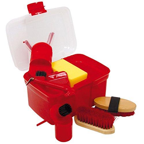 Putzbox Putzkiste befüllt mit Zubehör für Pferde Farbe: rot   Putzkasten   Putzkoffer Putzbox mit Inhalt