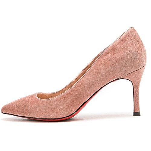 Cabeza Tama Verano Boca H04w8504 Pink Color Zapato Zapatos 5 Yixiny O Eu36 Alto Primavera Apuntado Poco cn35 Taln Del uk3 Sra Fine Profundo De Y Negro Tacn qRW8Y