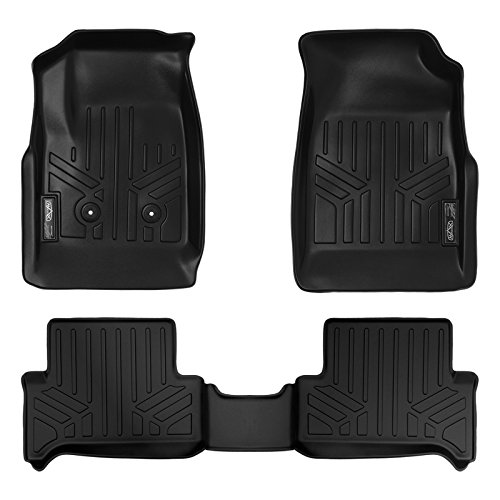 SMARTLINER Floor Mats 2 Row Liner Set Black for 2015-2018 Chevy Colorado Extended Cab/GMC Canyon Extended (Chevy Colorado Extended Cab)