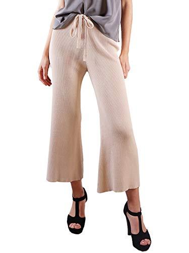 Anna-Kaci Women's Ribbed Knit Wide Leg Drawstring Waist Tie Crop Culotte - Pants Knit Ribbed
