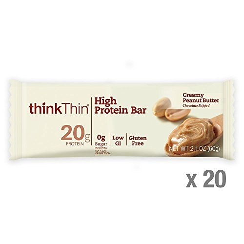 Thin Bar Creamy - thinkThin High Protein Bars, Creamy Peanut Butter, 2.1 Ounce (20 Count)